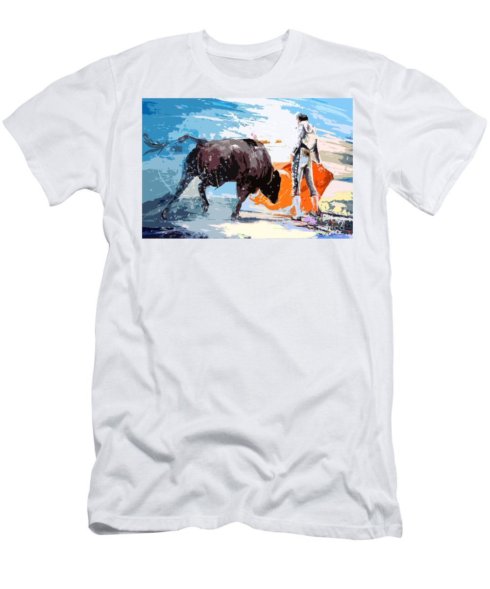 Bullfight Men's T-Shirt (Athletic Fit) featuring the painting Toroscape 37 by Miki De Goodaboom