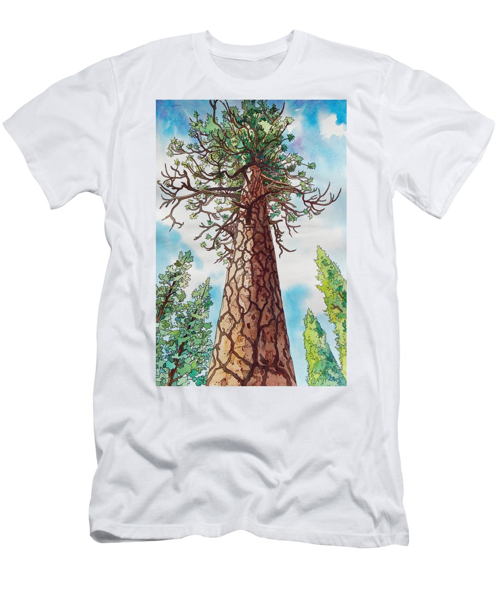 Ponderosa Men's T-Shirt (Athletic Fit) featuring the painting Towering Ponderosa Pine by Terry Holliday