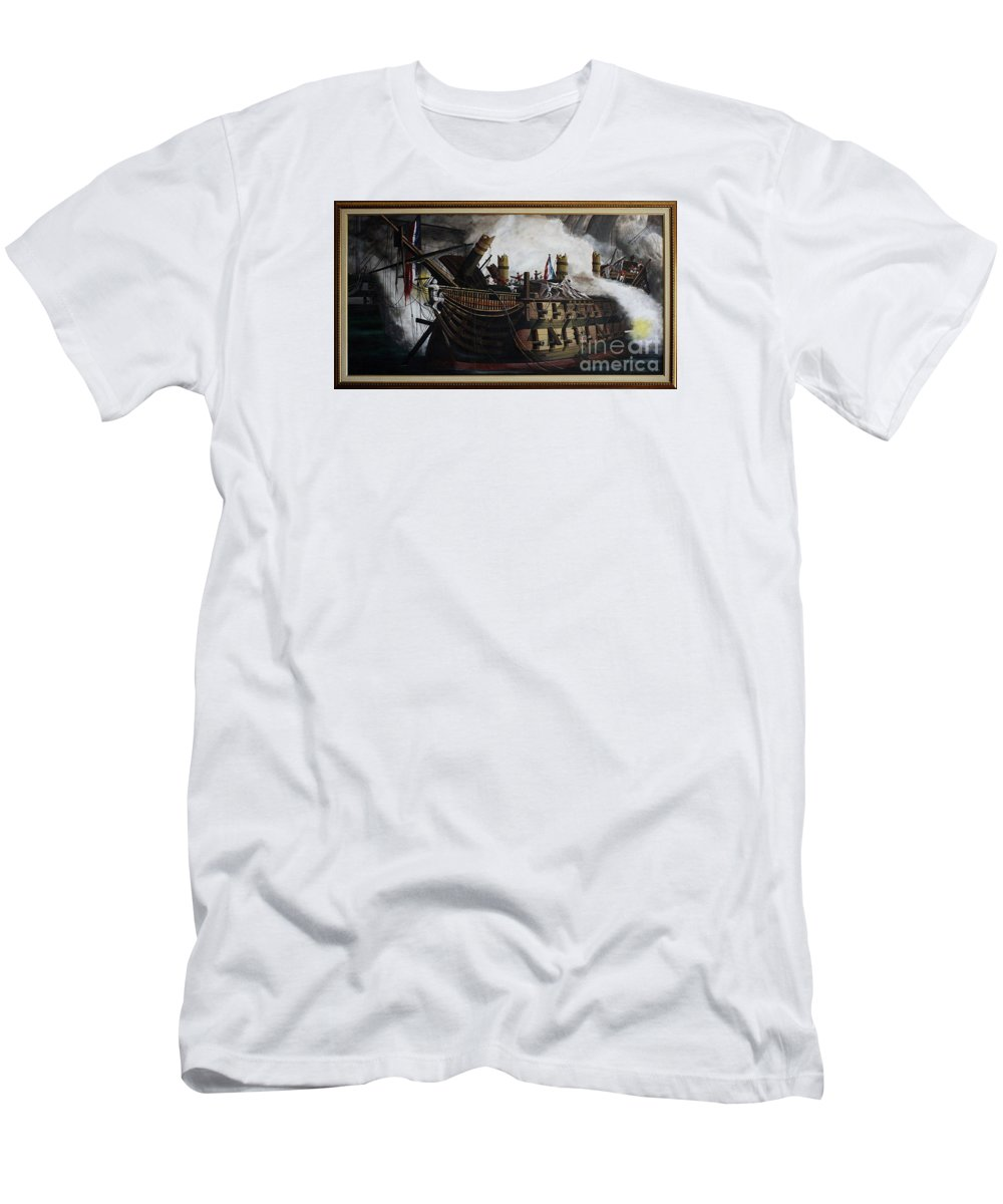 Destruction Of The Bucentaure Men's T-Shirt (Athletic Fit) featuring the painting Trafalgar - Destruction Of The Bucentaure 72 X 36 In 182 X 91 Cm by Richard John Holden RA