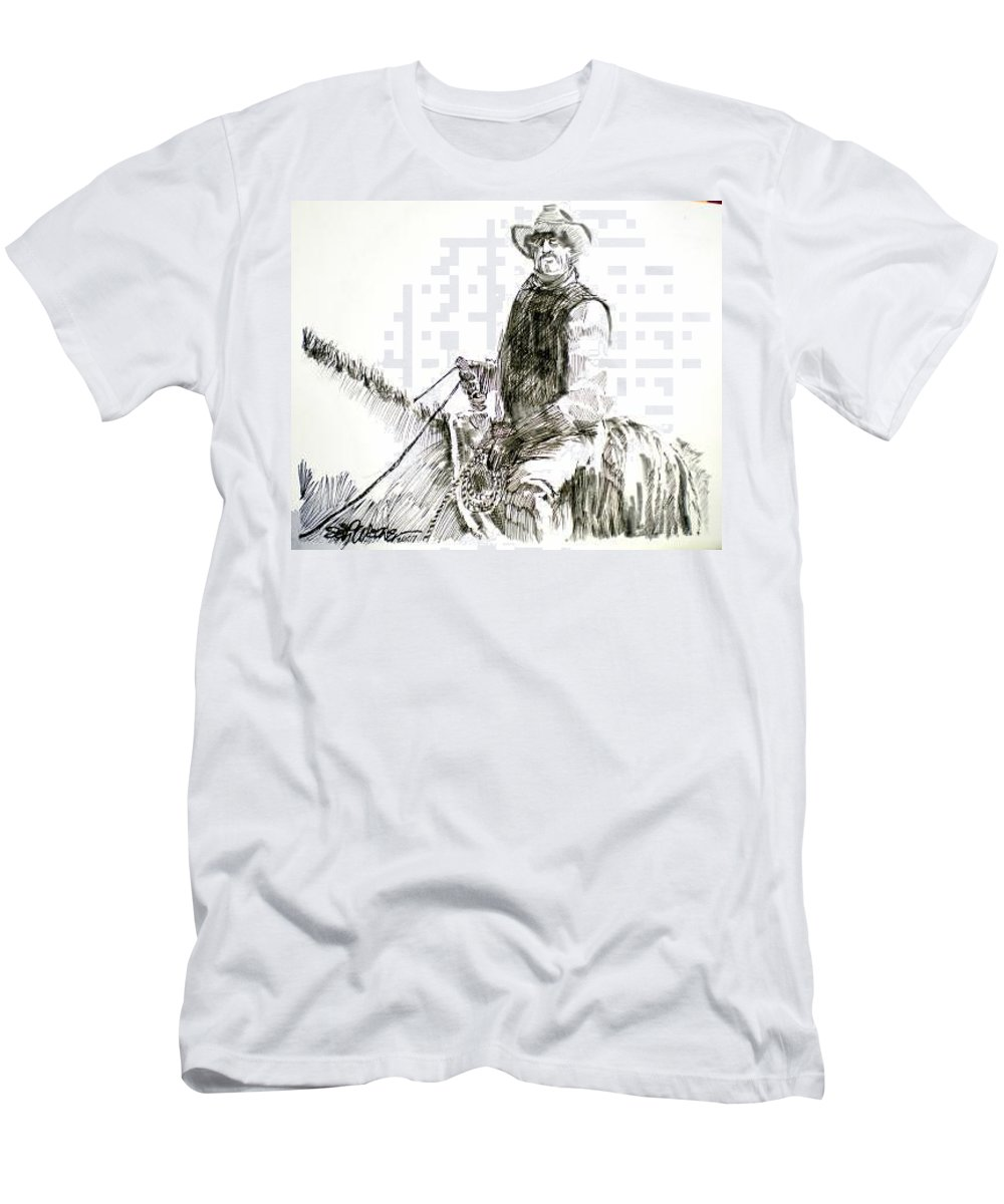 Trail Boss Men's T-Shirt (Athletic Fit) featuring the drawing Trail Boss by Seth Weaver