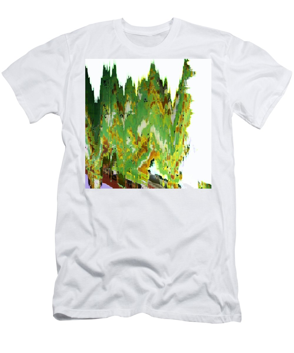 Abstract Men's T-Shirt (Athletic Fit) featuring the digital art Train At Royal Gorge by Lenore Senior