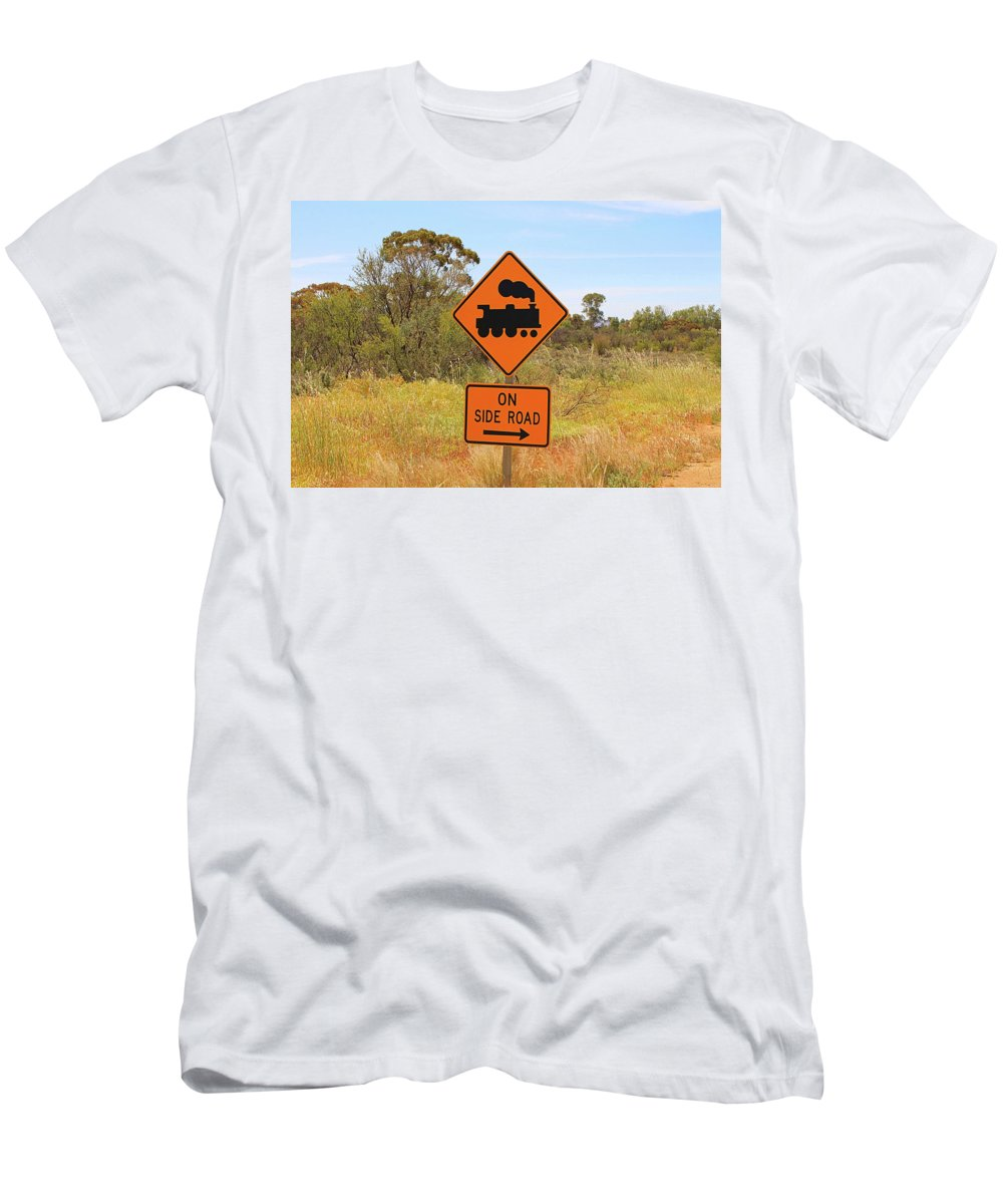 Australia Beware Men's T-Shirt (Athletic Fit) featuring the photograph Train Engine Locomotive Sign by Fran West