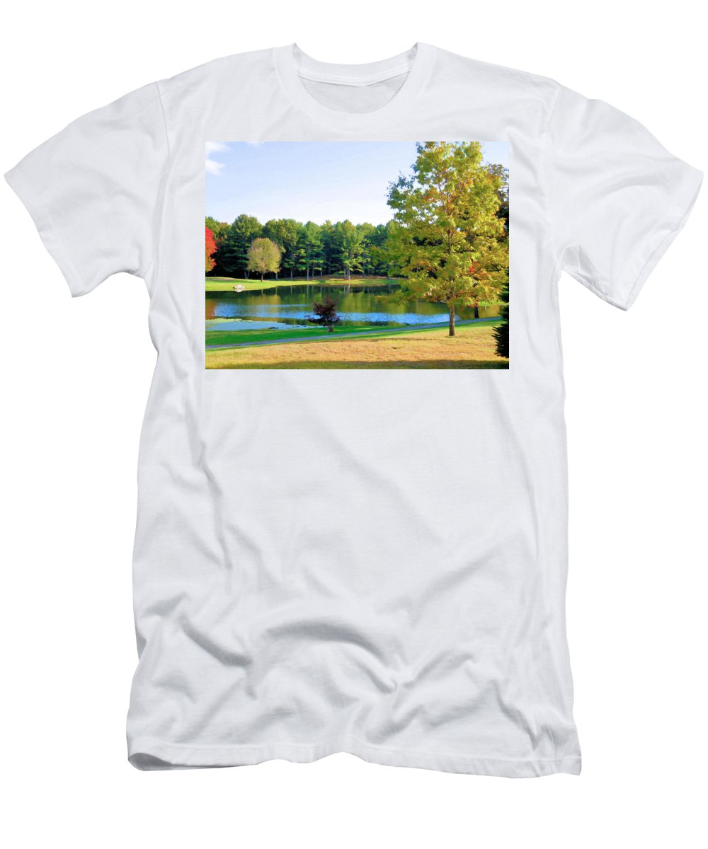 Tranquil Landscape At A Lake Men's T-Shirt (Athletic Fit) featuring the painting Tranquil Landscape At A Lake 6 by Jeelan Clark