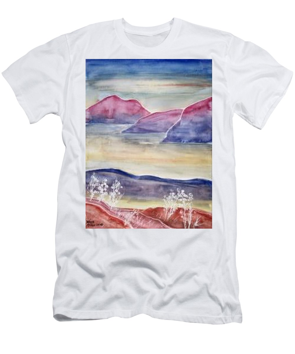 Watercolor Men's T-Shirt (Athletic Fit) featuring the painting Tranquility 2 Mountain Modern Surreal Painting Print by Derek Mccrea