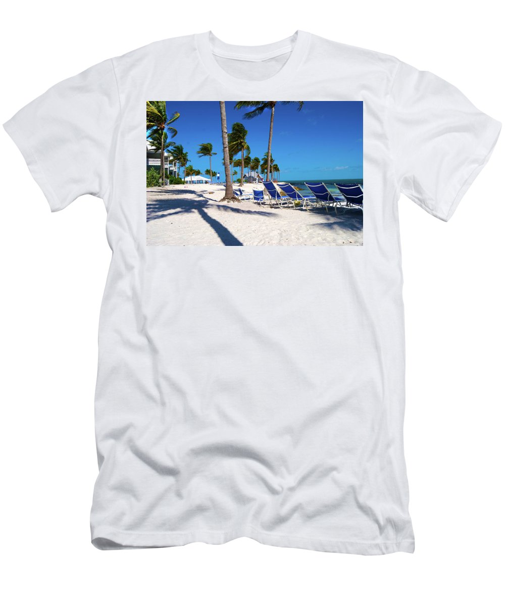 Tree Men's T-Shirt (Athletic Fit) featuring the photograph Tranquility Bay Beach Paradise by Randy Aveille