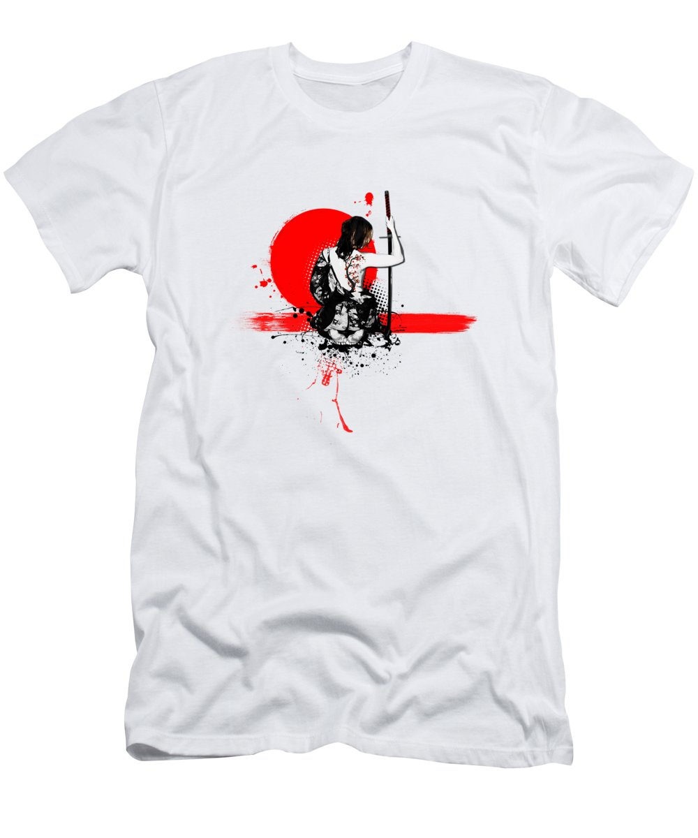 Samurai Men's T-Shirt (Athletic Fit) featuring the digital art Trash Polka - Female Samurai by Nicklas Gustafsson