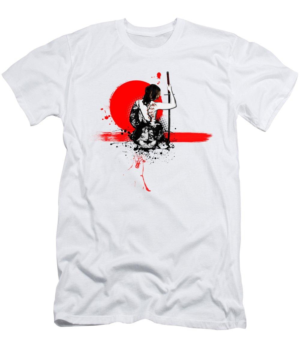 Samurai T-Shirt featuring the digital art Trash Polka - Female Samurai by Nicklas Gustafsson