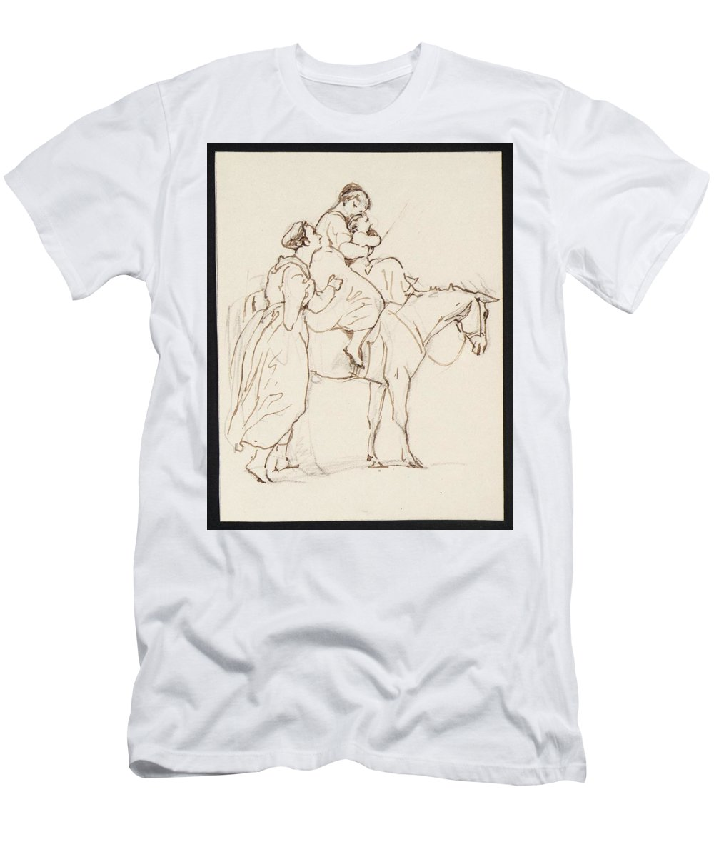 George Jones 1786�1869 Travelers Men's T-Shirt (Athletic Fit) featuring the painting Travelers by MotionAge Designs