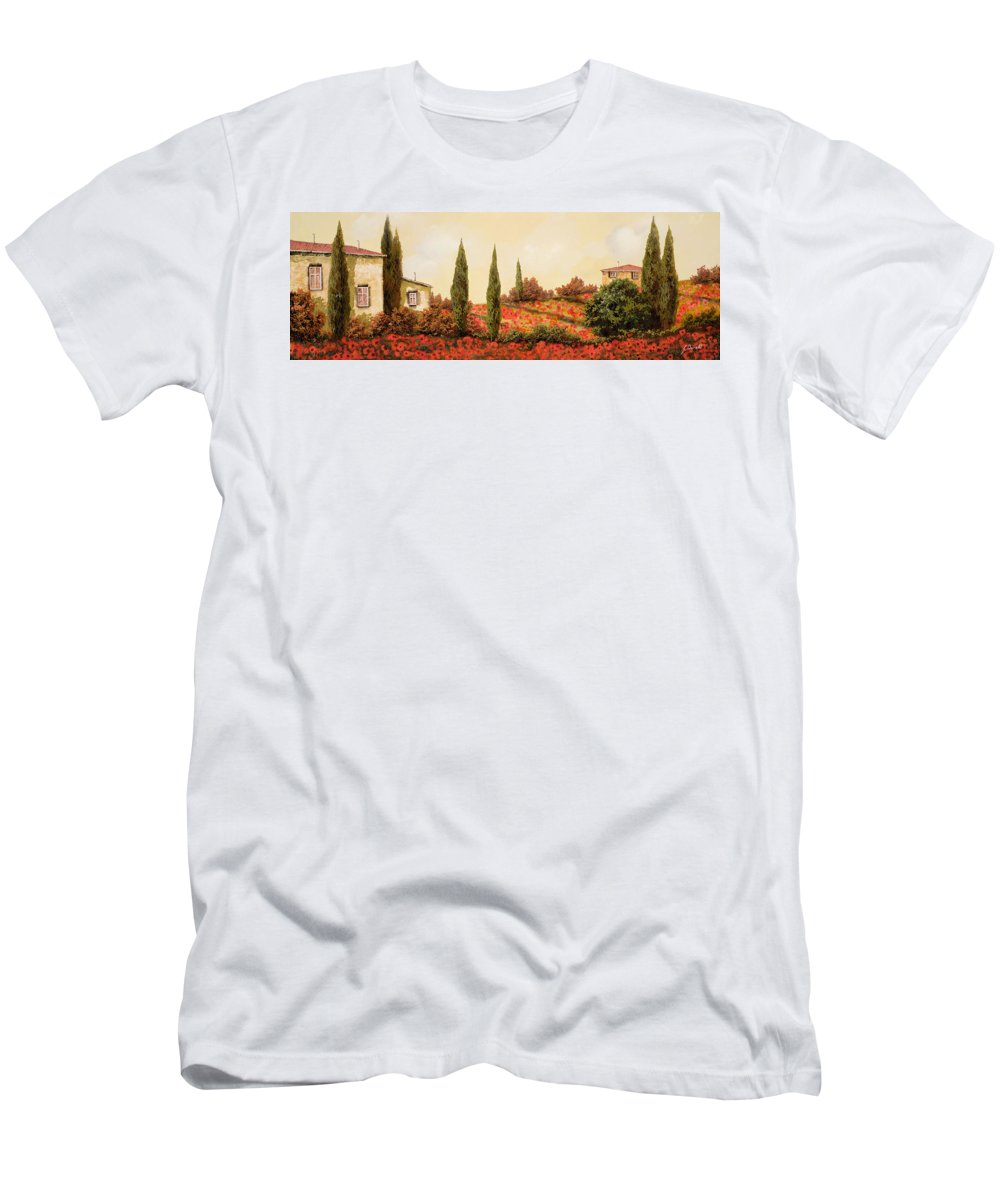 Landscape T-Shirt featuring the painting Tre Case Tra I Papaveri Rossi by Guido Borelli
