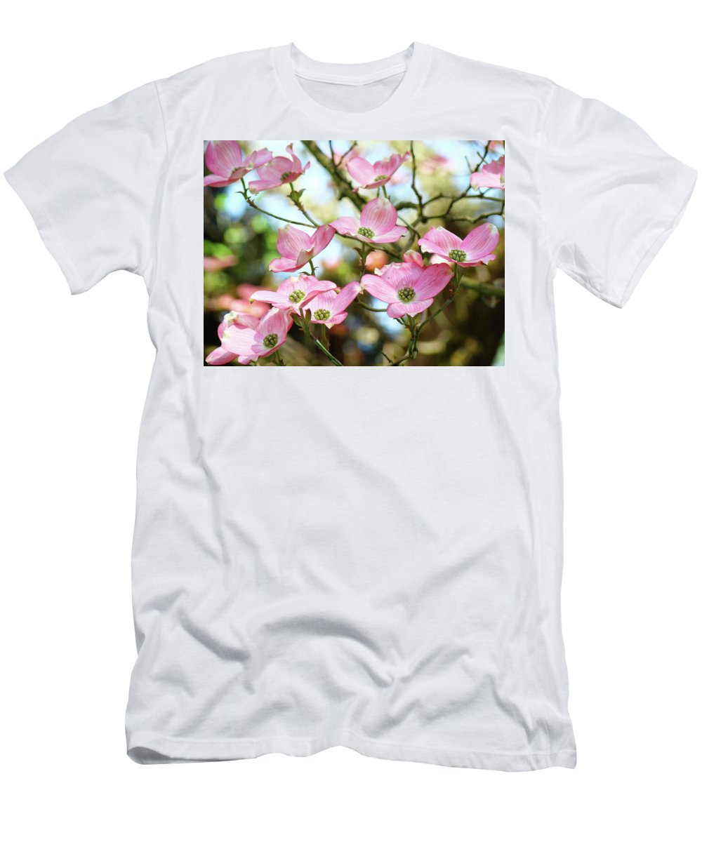 Nature Men's T-Shirt (Athletic Fit) featuring the photograph Tree Landscape Pink Dogwood Flowers Baslee Troutman by Baslee Troutman