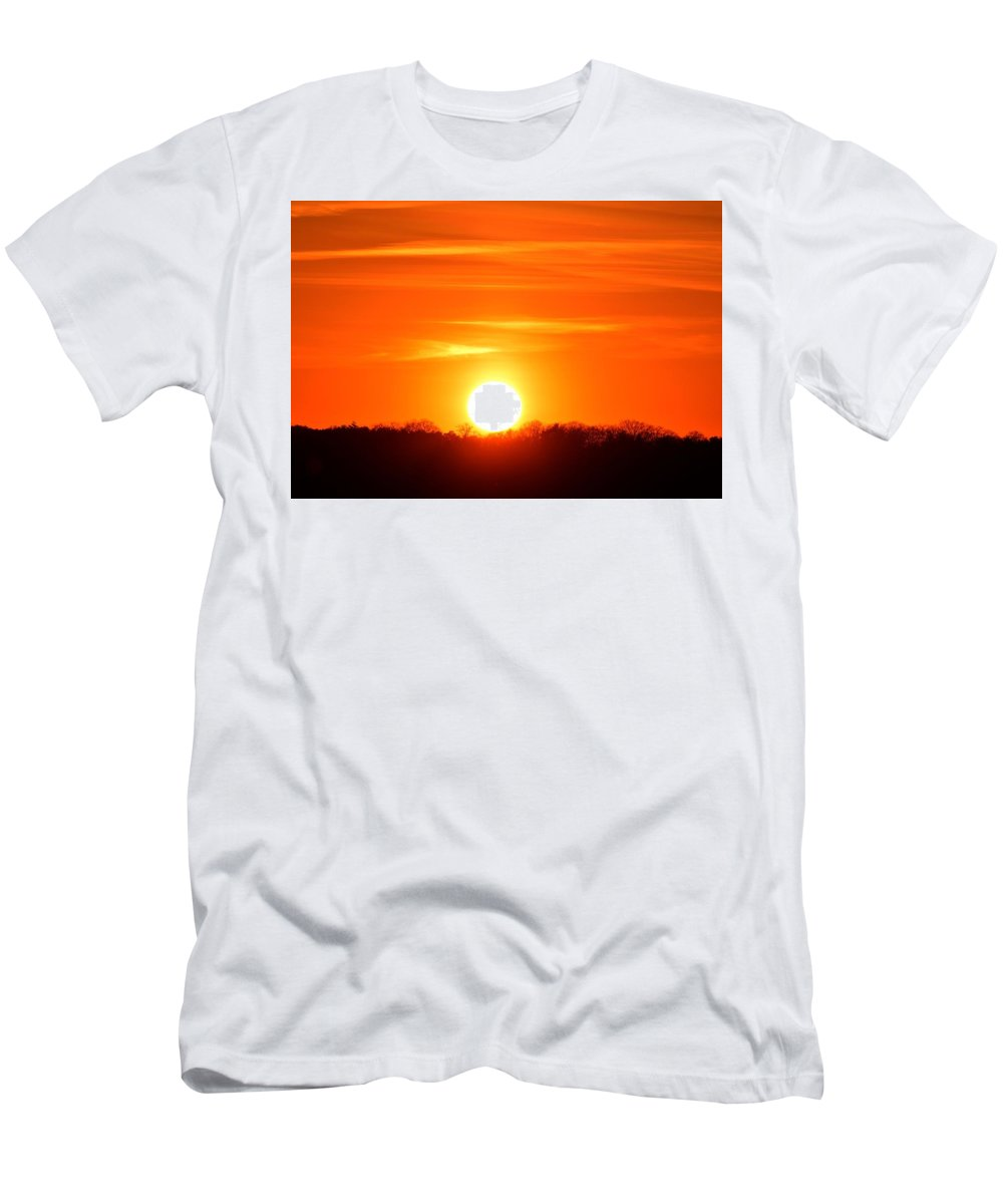 Abstract Men's T-Shirt (Athletic Fit) featuring the photograph Trees And Sun Two by Lyle Crump