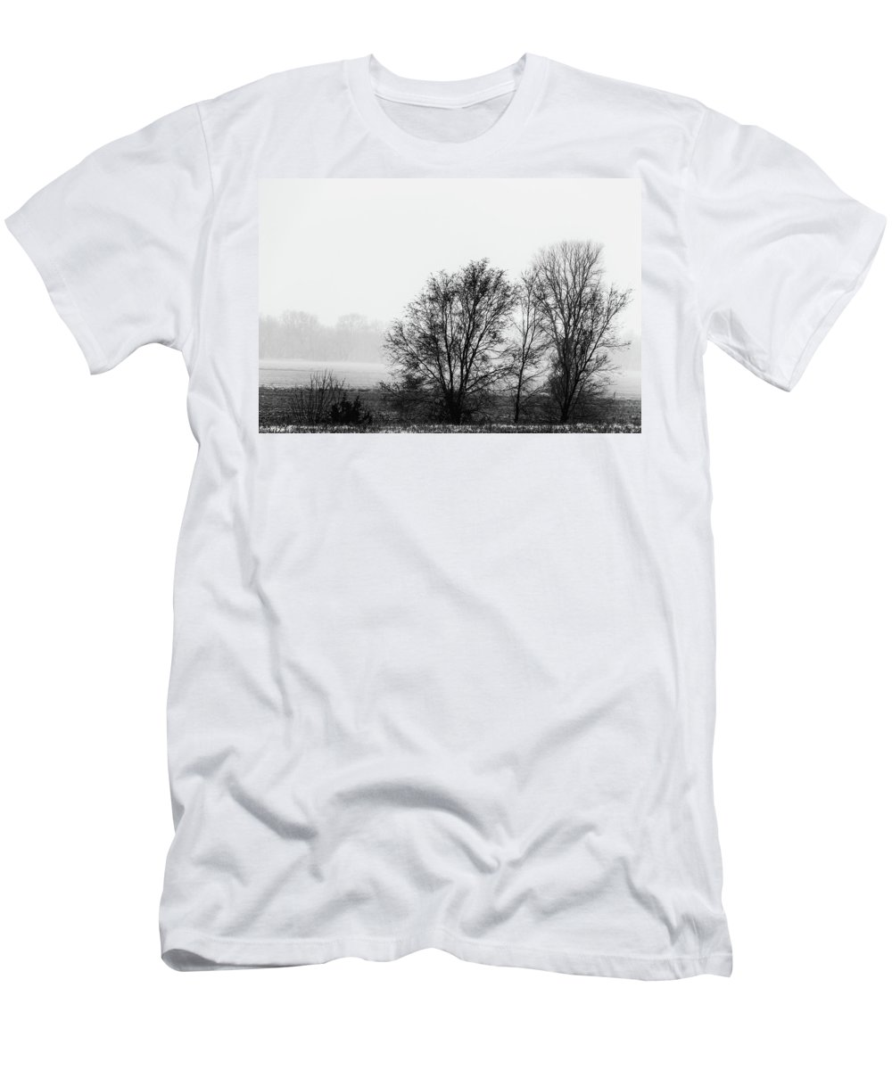 Jay Stockhaus Men's T-Shirt (Athletic Fit) featuring the photograph Trees In The Mist by Jay Stockhaus