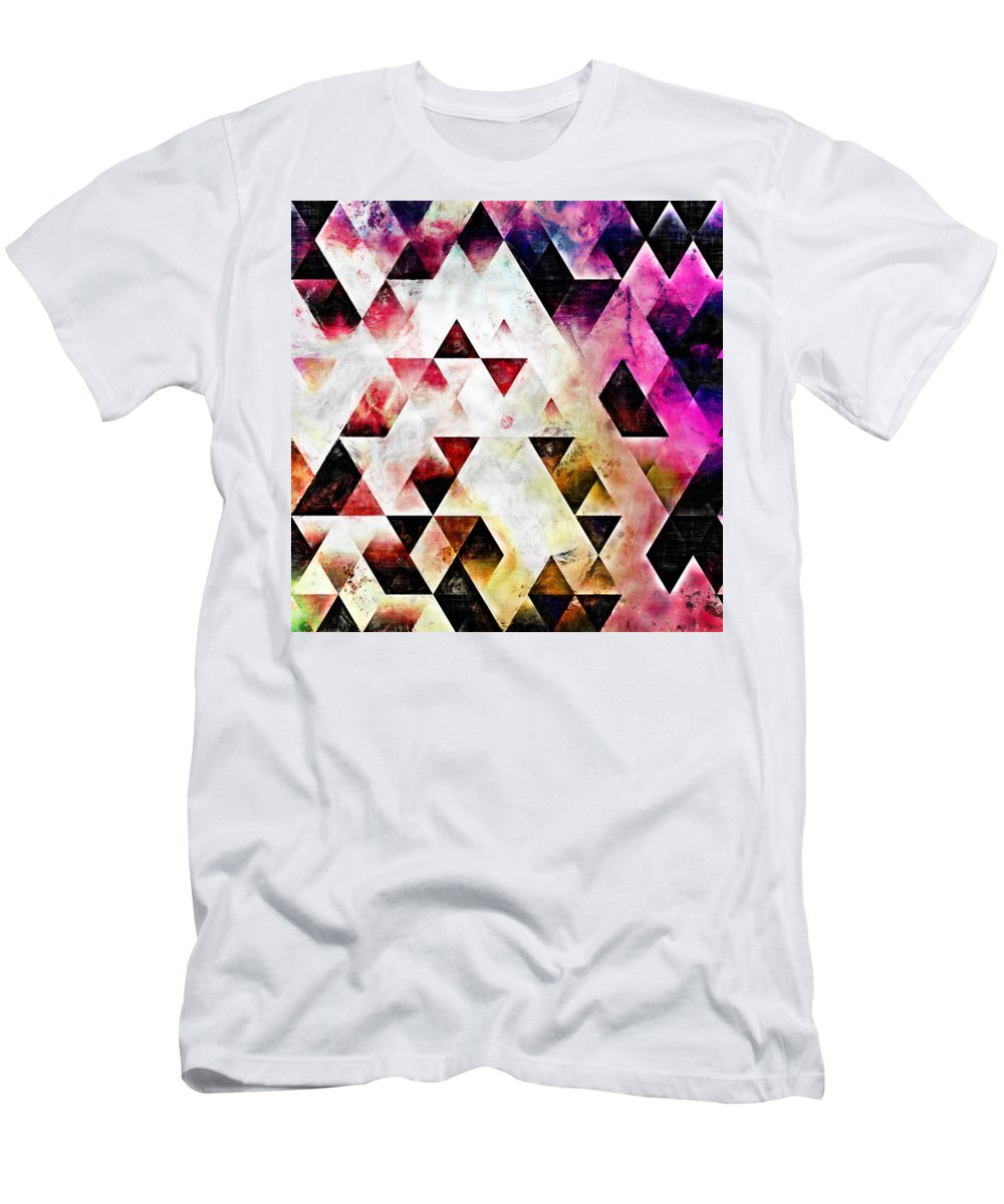 Triangles Men's T-Shirt (Athletic Fit) featuring the painting Triangles Autumn by Kristian Leov