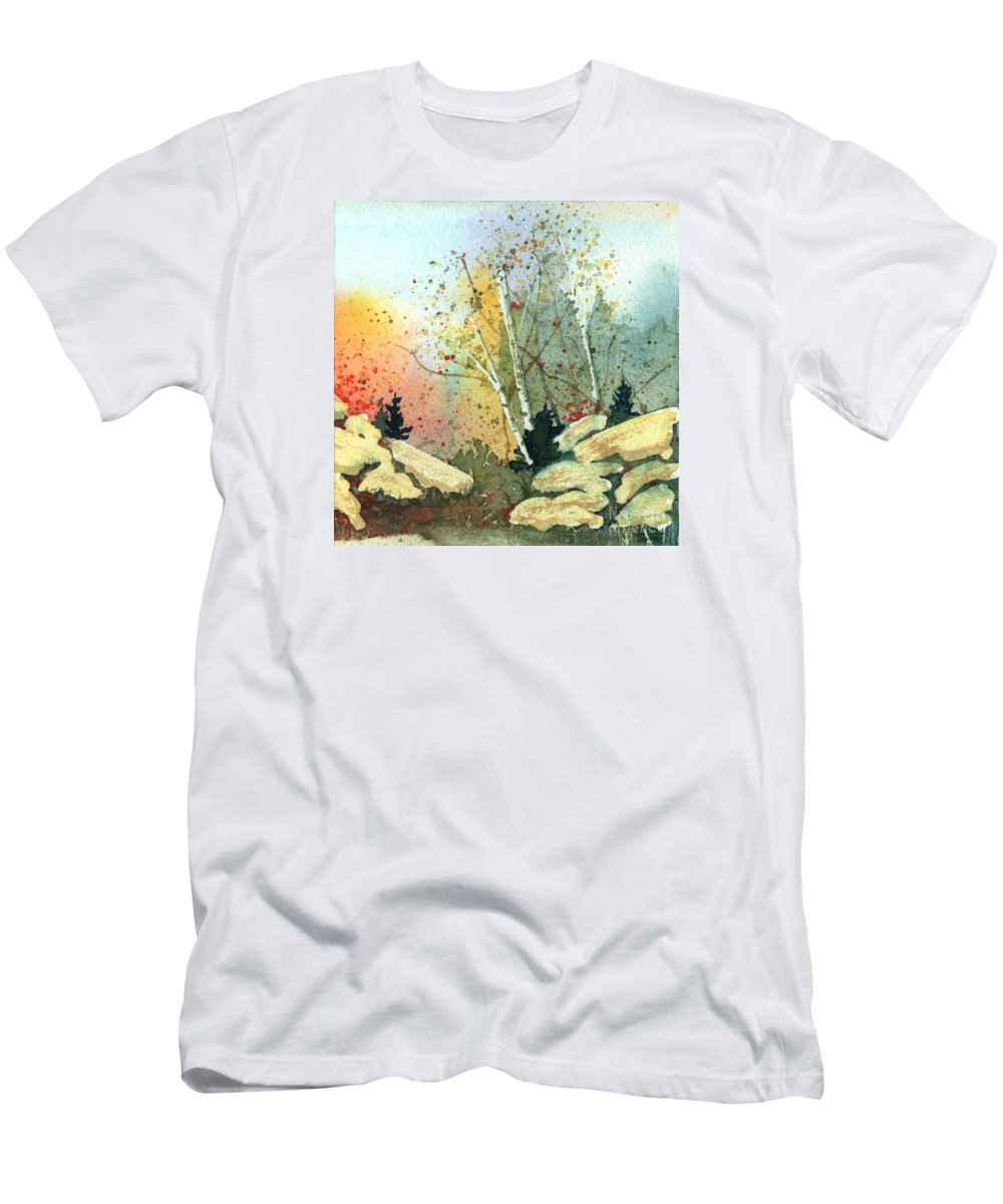 Landscape Men's T-Shirt (Athletic Fit) featuring the painting Triptych Panel 3 by Lynn Quinn