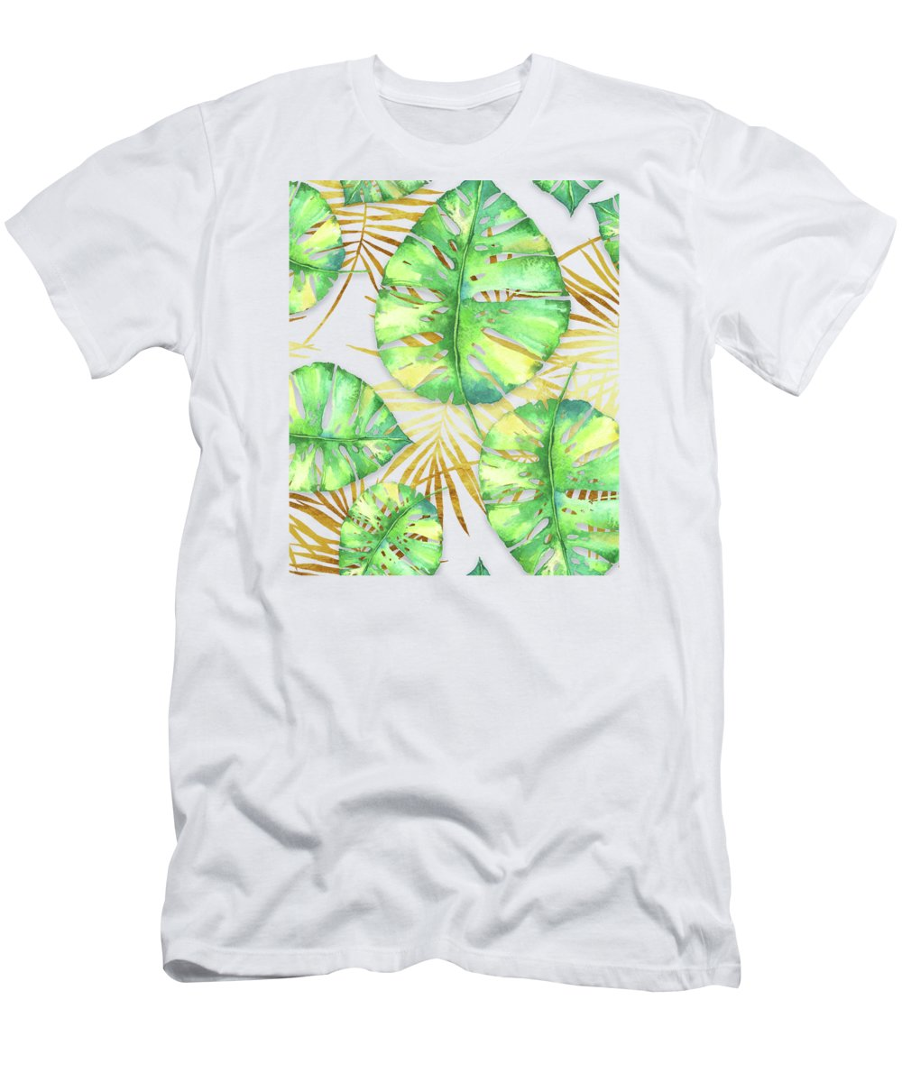 Gold Men's T-Shirt (Athletic Fit) featuring the painting Tropical Haze Blanche Variegated Monstera Leaves, Golden Palm Fronds On Black by Tina Lavoie