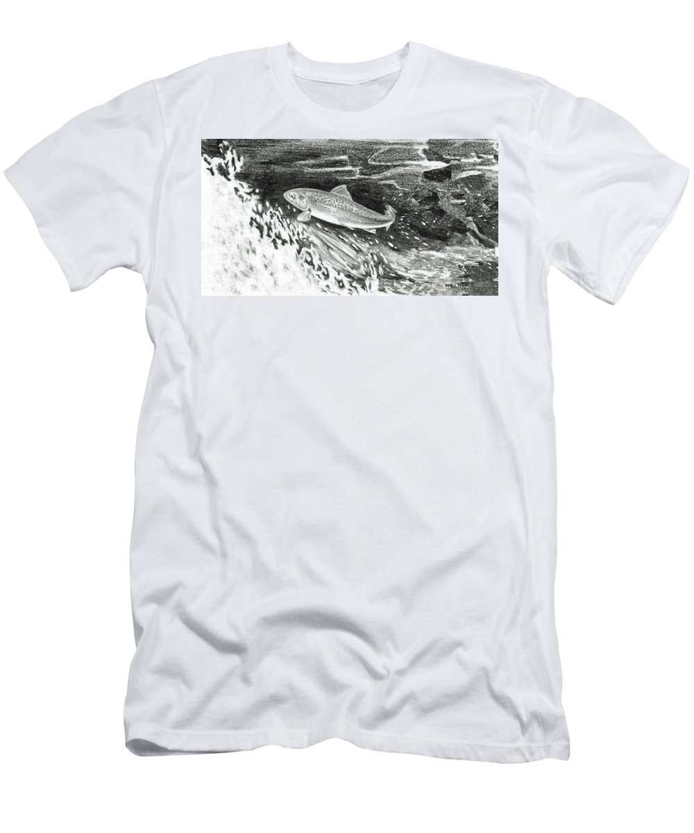 Trout Men's T-Shirt (Athletic Fit) featuring the painting Trout II by Mary Tuomi