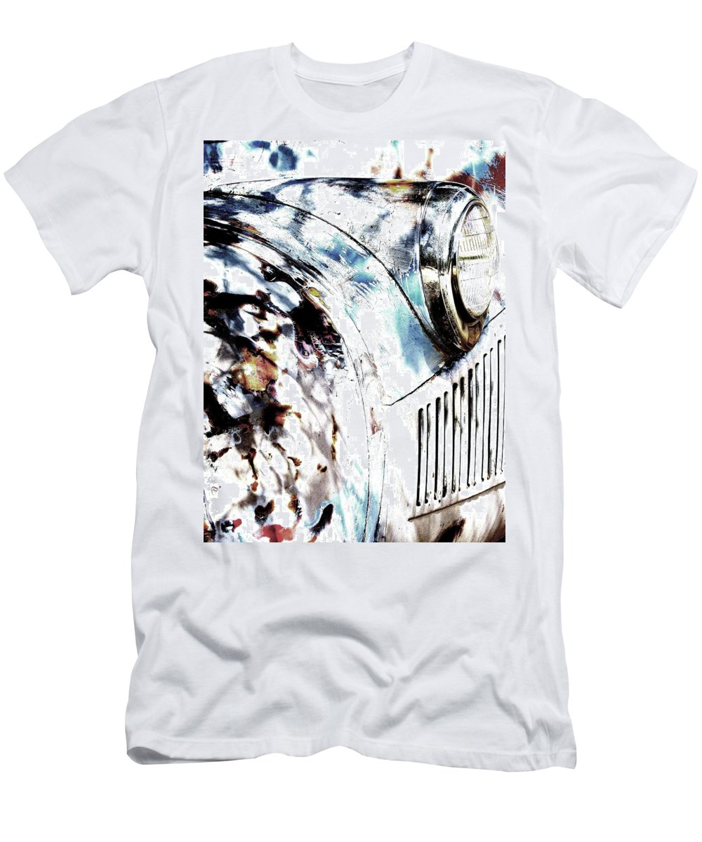 Trucks Men's T-Shirt (Athletic Fit) featuring the photograph Truck In Dappled Sunlight by Bradford Turner