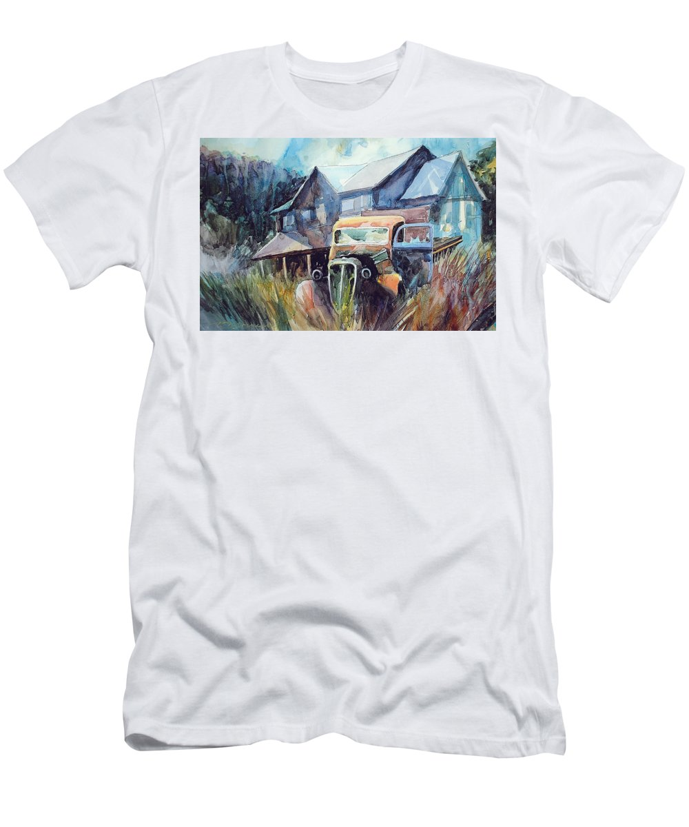 House Truck Grass T-Shirt featuring the painting Truck in the Tall Grass by Ron Morrison