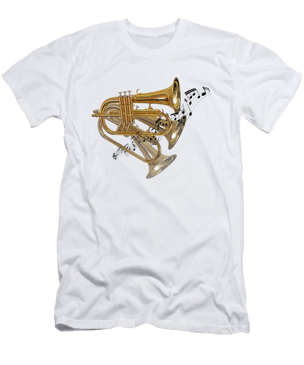 Music Men's T-Shirt (Athletic Fit) featuring the photograph Trumpet Fanfare by Gill Billington