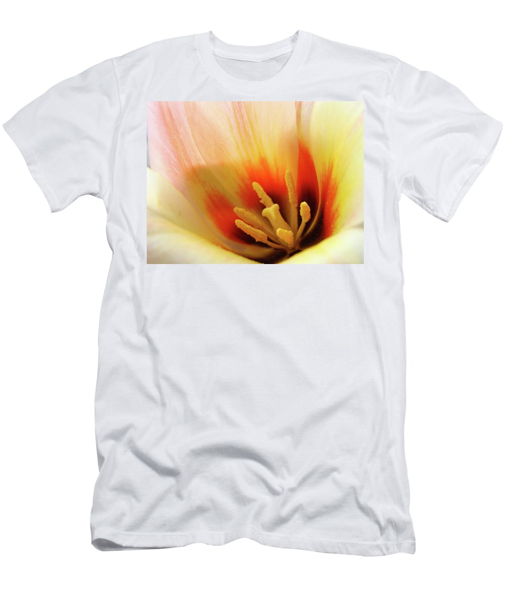�tulips Artwork� Men's T-Shirt (Athletic Fit) featuring the photograph Tulip Flower Artwork 31 Tulips Flowers Macro Spring Floral Art Prints by Baslee Troutman