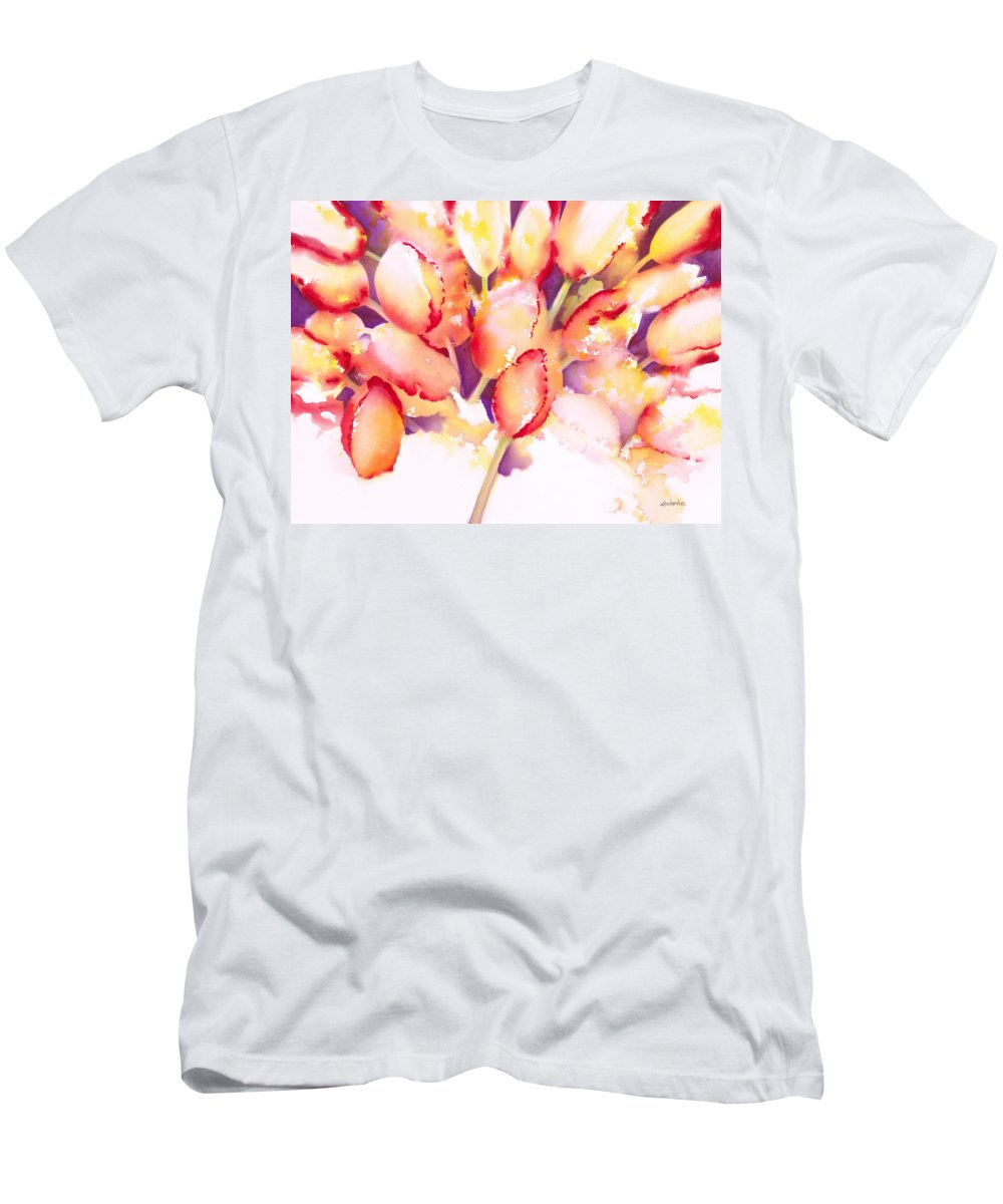 Flower Men's T-Shirt (Athletic Fit) featuring the painting Tulips Are People Iv by Jerome Lawrence