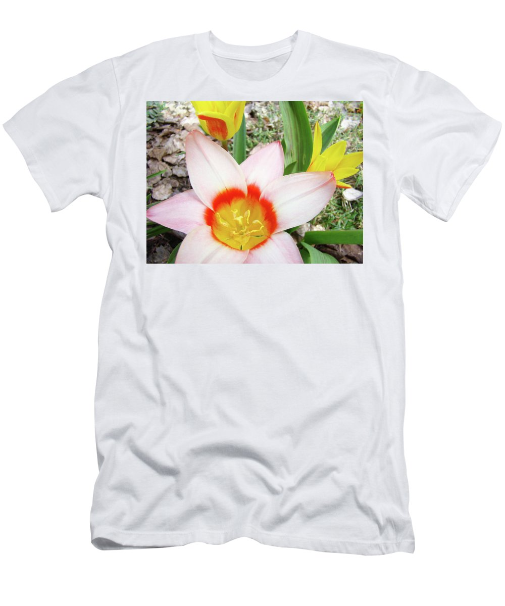 �tulips Artwork� Men's T-Shirt (Athletic Fit) featuring the photograph Tulips Artwork 9 Spring Floral Pink Tulip Flowers Art Prints by Baslee Troutman