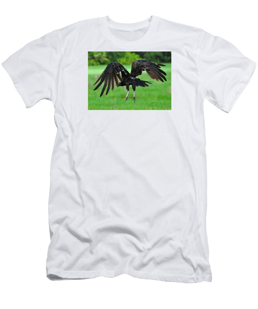 Turkey Vulture Men's T-Shirt (Athletic Fit) featuring the photograph Turkey Vulture In Flight by Amy Spear
