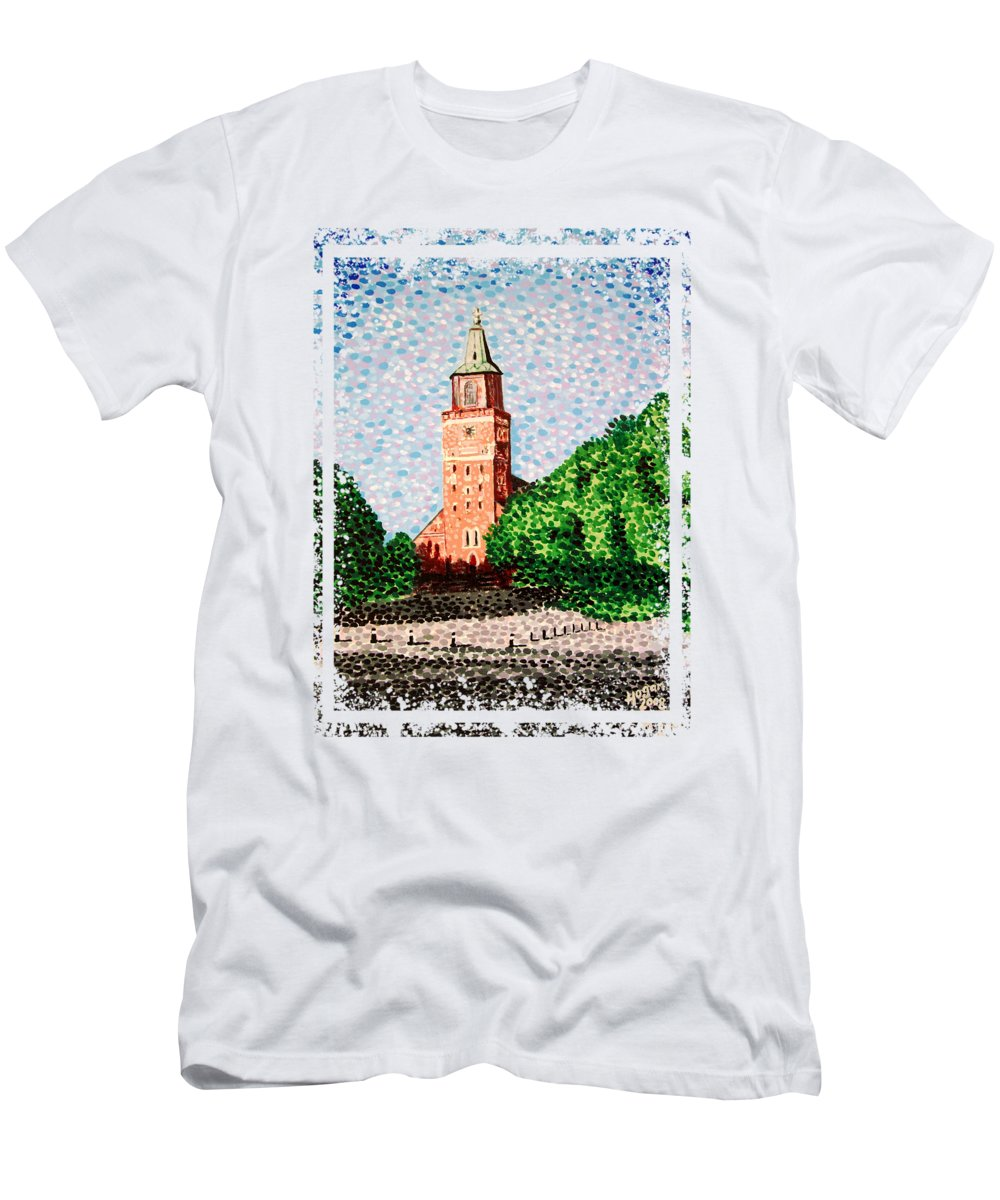 Finnish Men's T-Shirt (Athletic Fit) featuring the painting Turku Cathedral by Alan Hogan
