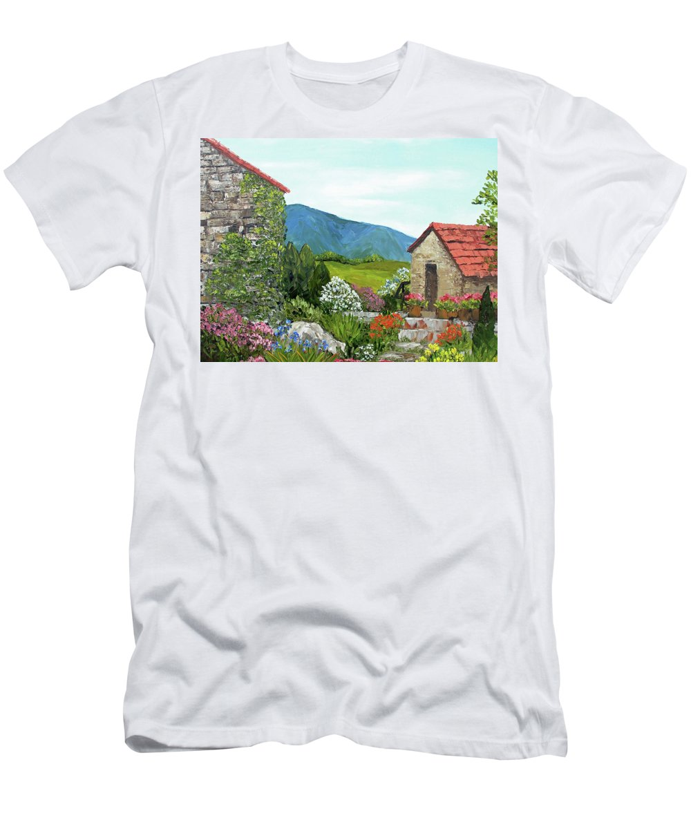 Alison Vernon Men's T-Shirt (Athletic Fit) featuring the painting Tuscan Villa by Alison Vernon