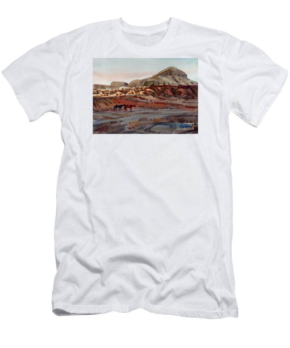 Horses Men's T-Shirt (Athletic Fit) featuring the painting Two Horses In The Arroyo by Donald Maier