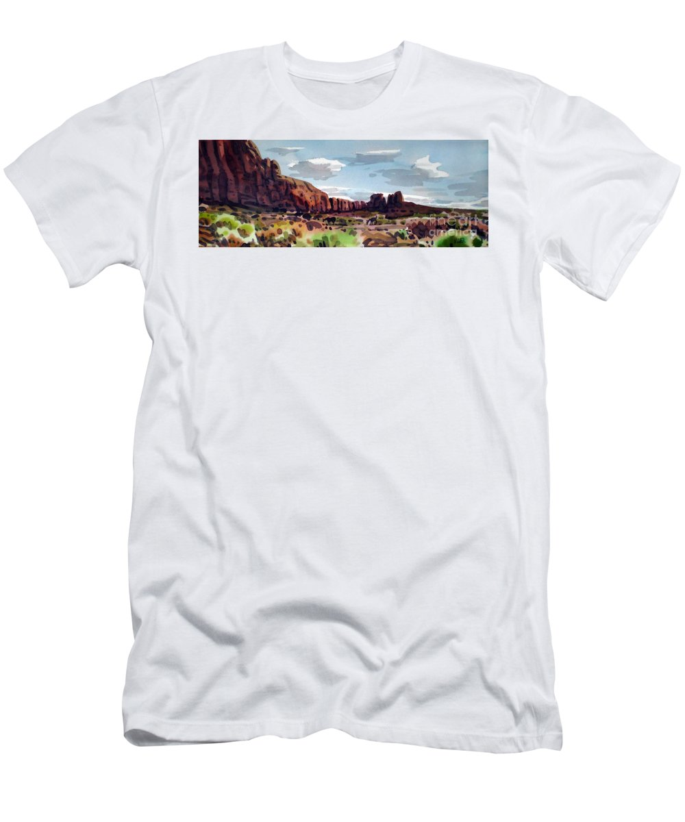 Horses Men's T-Shirt (Athletic Fit) featuring the painting Two Mustangs by Donald Maier