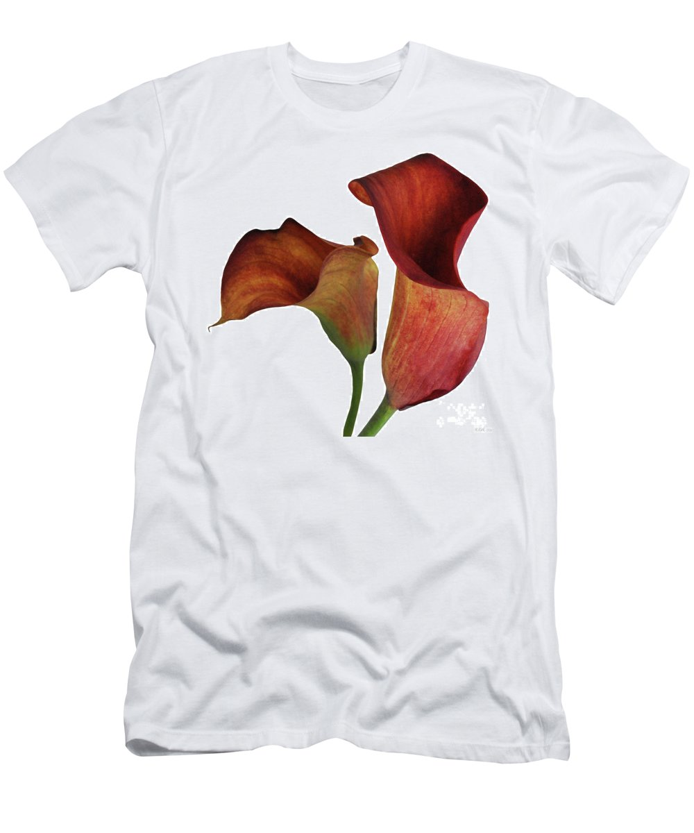 Rust Men's T-Shirt (Athletic Fit) featuring the photograph Two Rust Calla Lilies Square by Heather Kirk