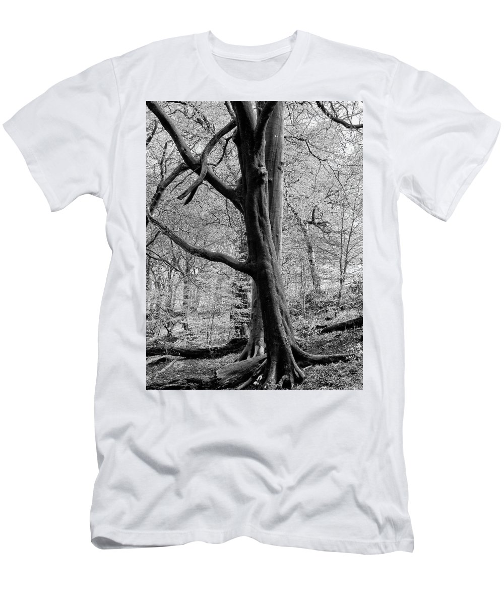 Spring Men's T-Shirt (Athletic Fit) featuring the photograph Two Trees In Spring - Mono by Philip Openshaw