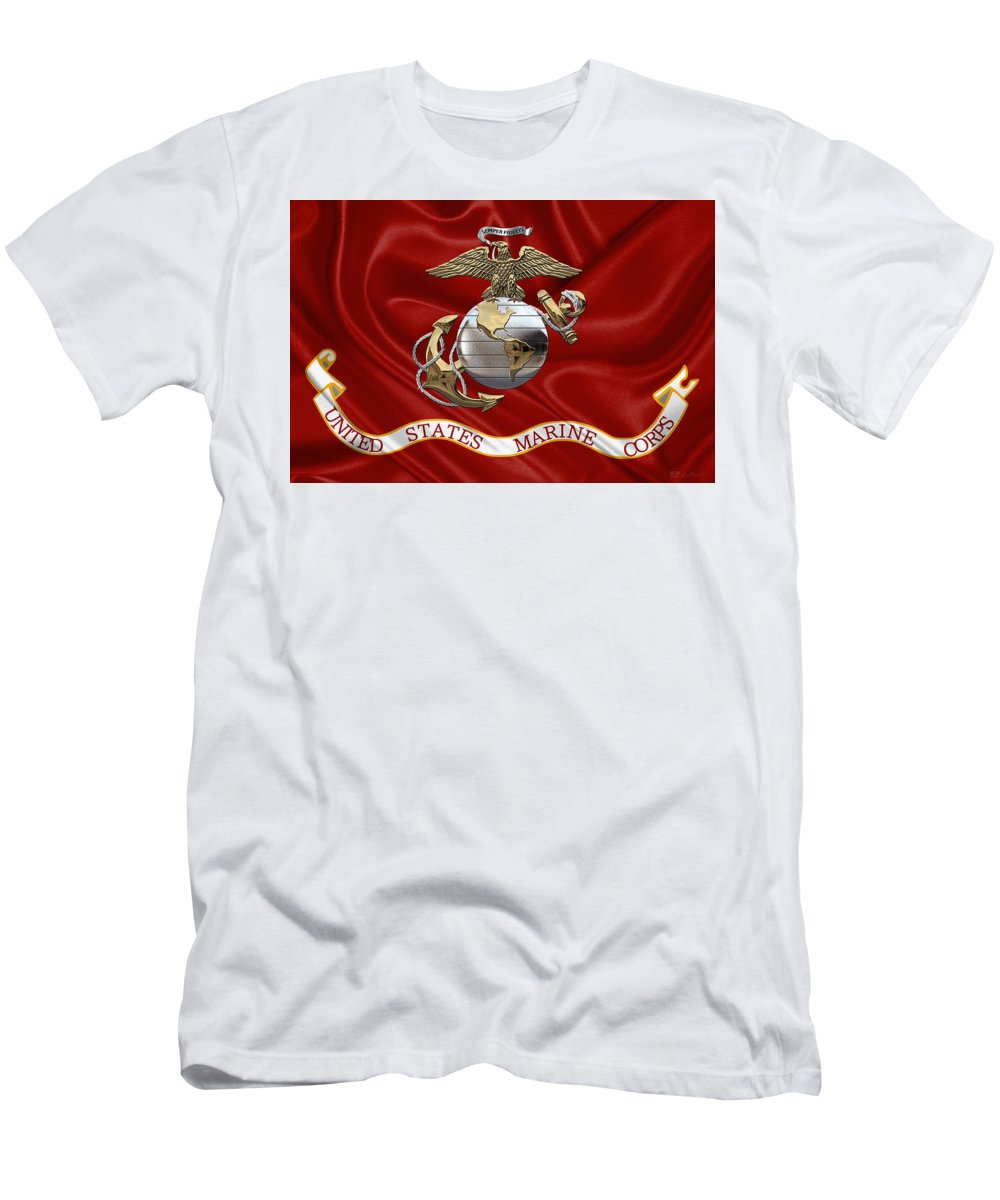 ad31a44e U. S. Marine Corps - U S M C Eagle Globe And Anchor Over Corps Flag T-Shirt  for Sale by Serge Averbukh
