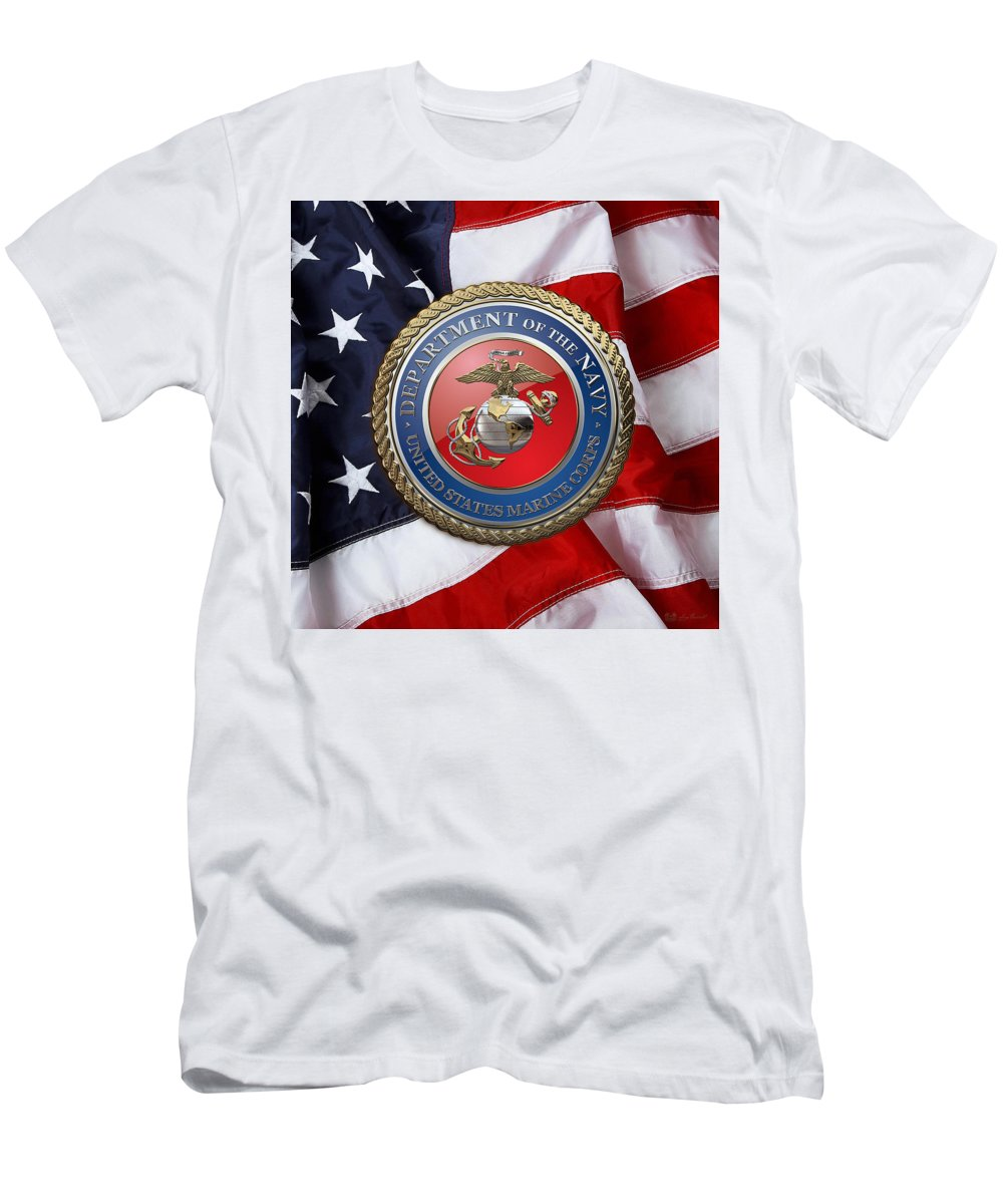 'military Insignia & Heraldry 3d' Collection By Serge Averbukh Men's T-Shirt (Athletic Fit) featuring the digital art U. S. Marine Corps - U S M C Seal Over American Flag. by Serge Averbukh