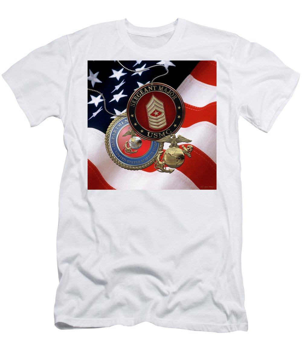 'military Insignia And Heraldry' Collection By Serge Averbukh Men's T-Shirt (Athletic Fit) featuring the digital art U. S. Marines Sergeant Major - U S M C Sgt Maj Rank Insignia Over American Flag by Serge Averbukh