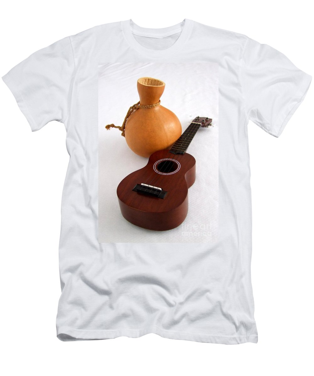 Mary Deal Men's T-Shirt (Athletic Fit) featuring the photograph Ukulele And Ipu by Mary Deal