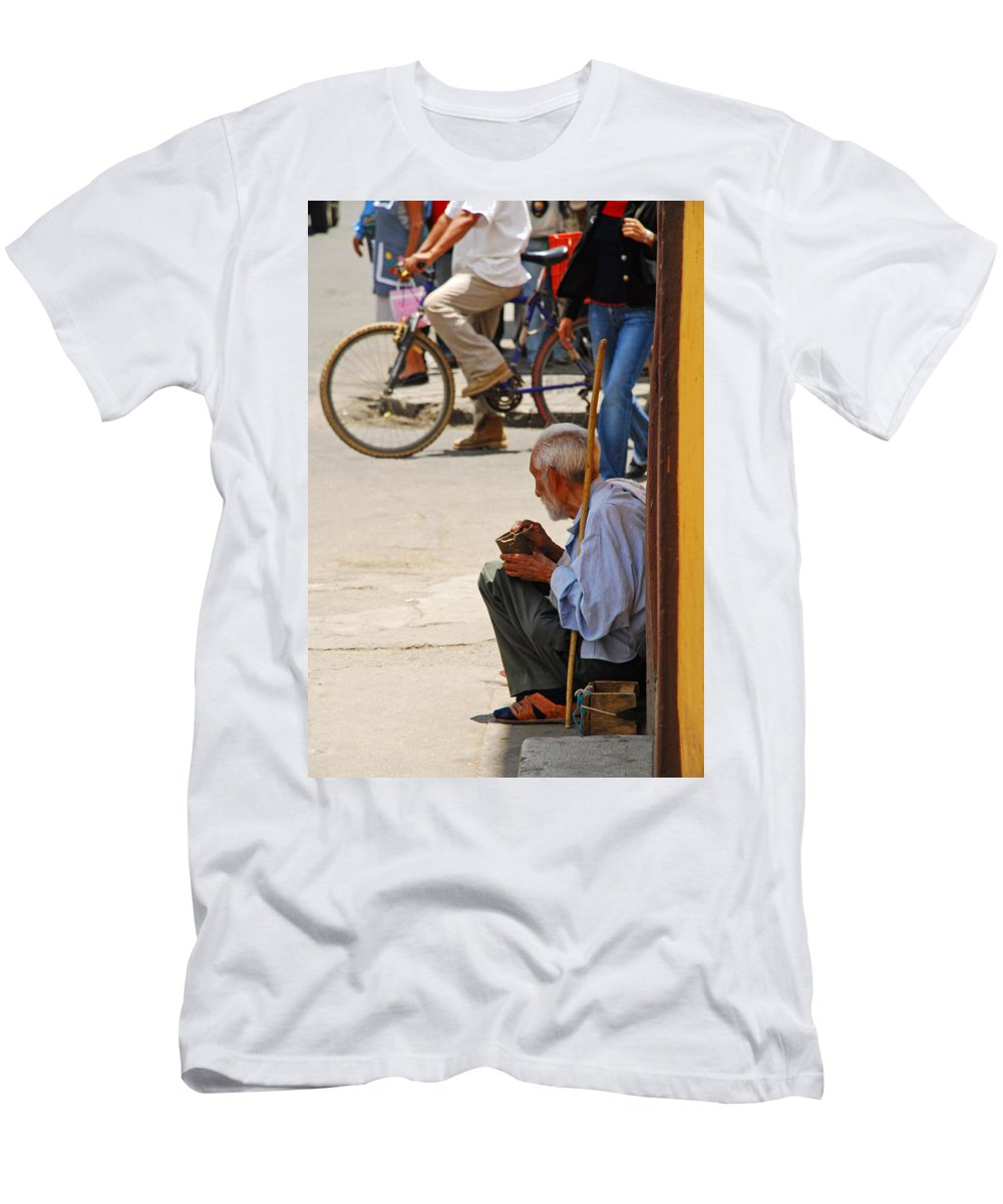 Beggar Men's T-Shirt (Athletic Fit) featuring the photograph Un Peso Por Favor by Skip Hunt