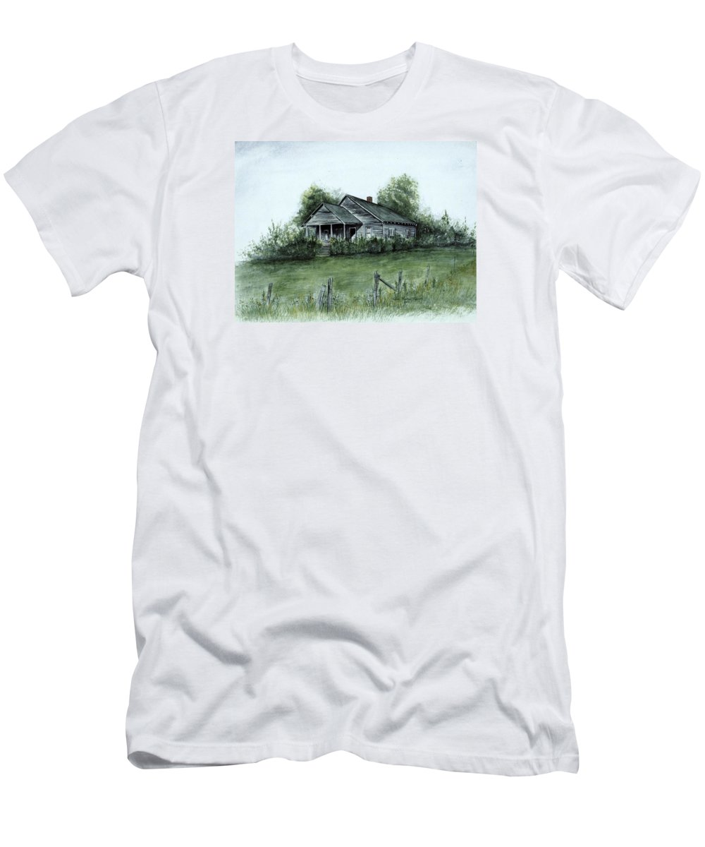 Landscape Men's T-Shirt (Athletic Fit) featuring the painting Uncle Luther's Home by Robin Martin Parrish