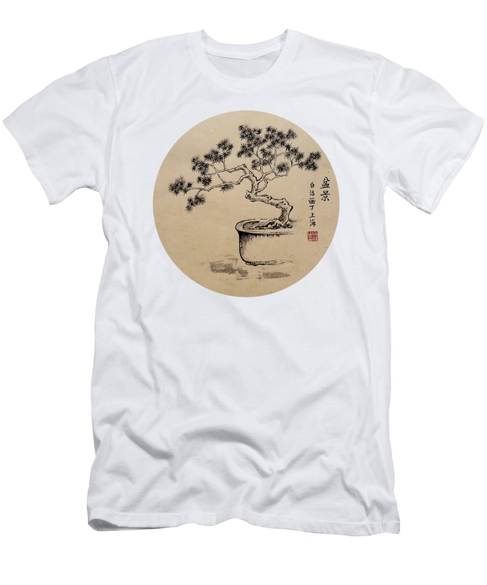Bonsai Men's T-Shirt (Athletic Fit) featuring the painting Under My Care - Round by Birgit Moldenhauer