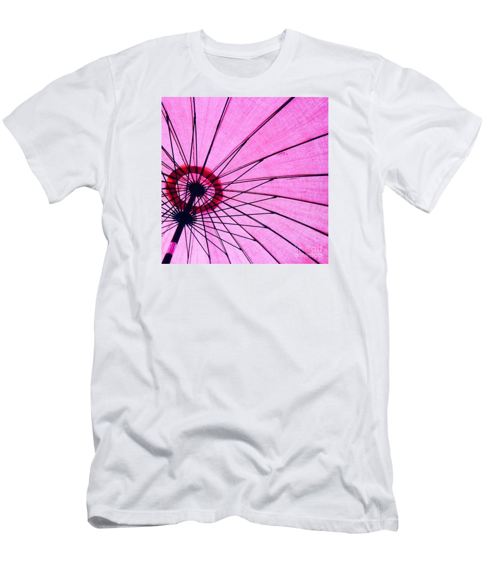 Pink Men's T-Shirt (Athletic Fit) featuring the photograph Under The Pink Umbrella by Jenny Berg