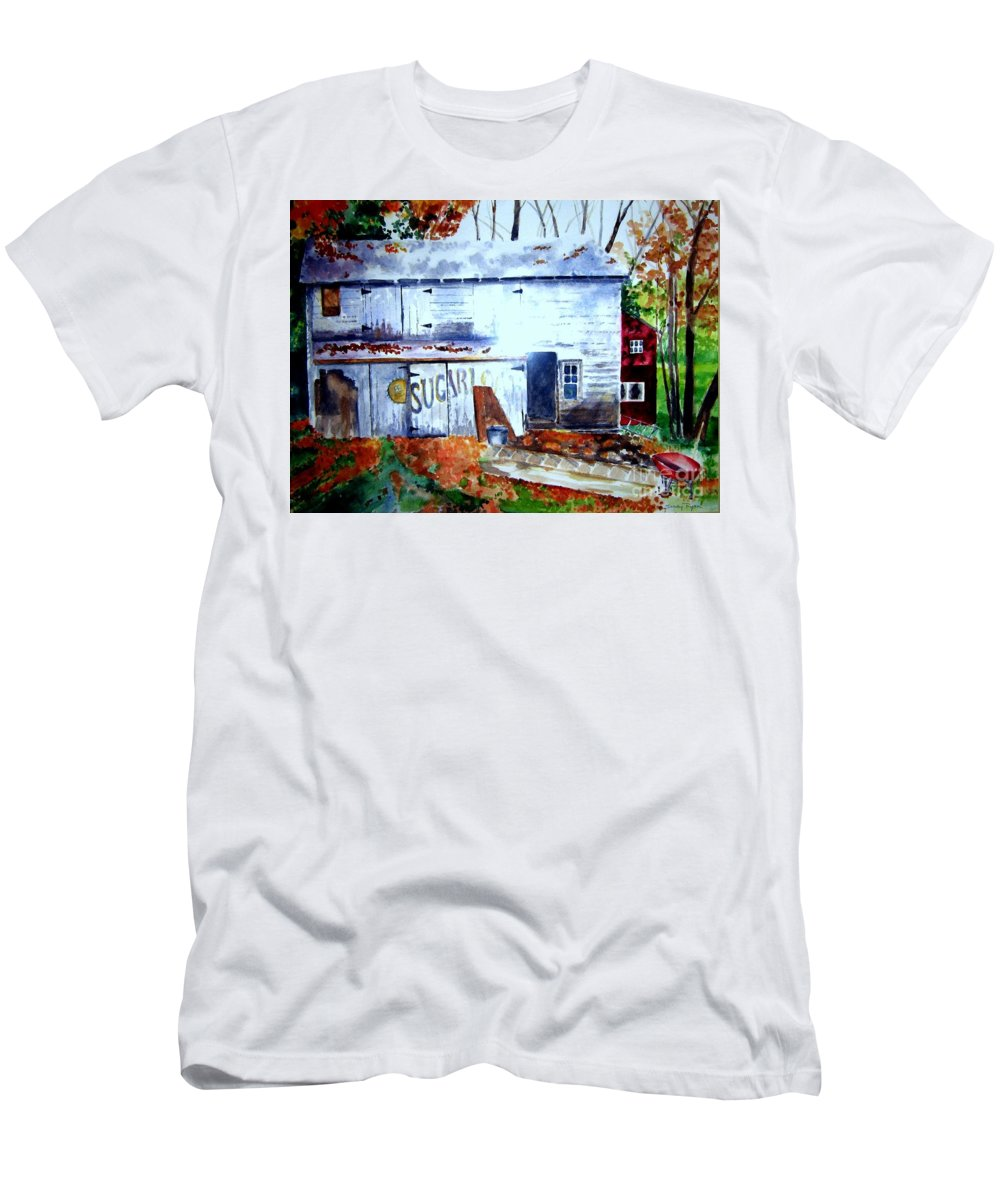 Autumn Men's T-Shirt (Athletic Fit) featuring the painting Upstate Barn by Sandy Ryan