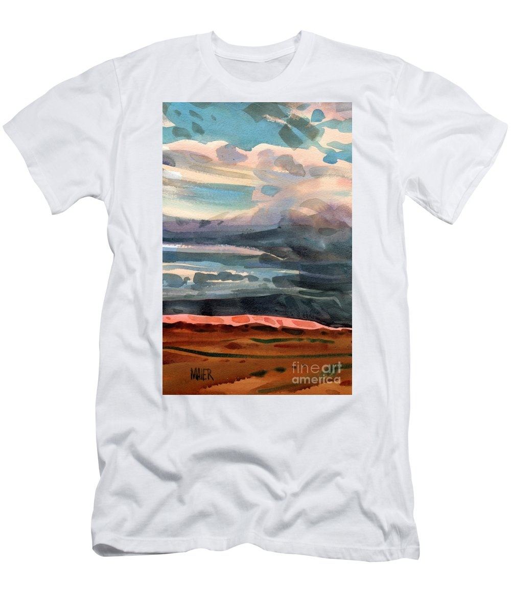 Western Landscape Men's T-Shirt (Athletic Fit) featuring the painting Utah Skyline by Donald Maier