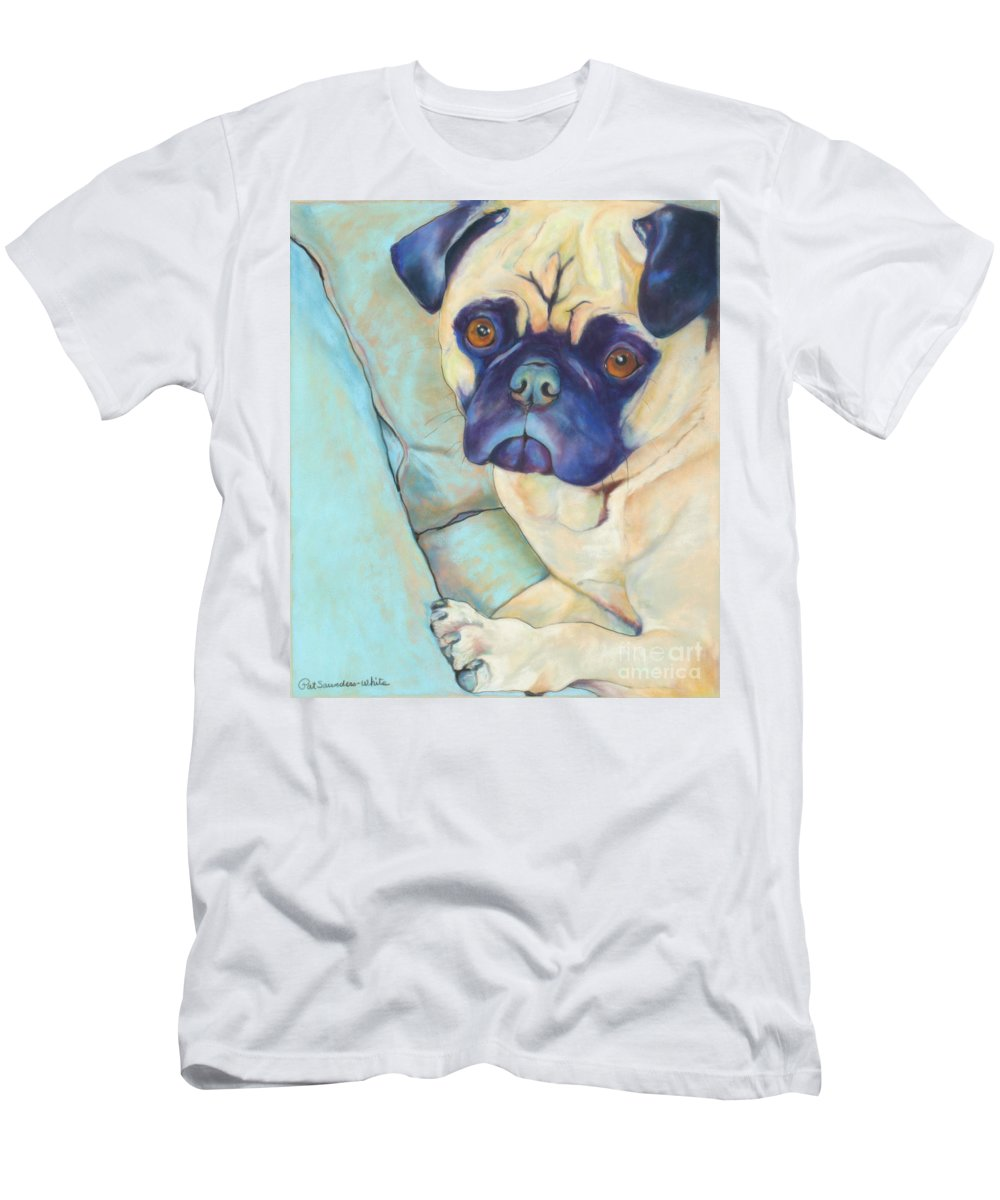 Pug Men's T-Shirt (Athletic Fit) featuring the pastel Valentino by Pat Saunders-White