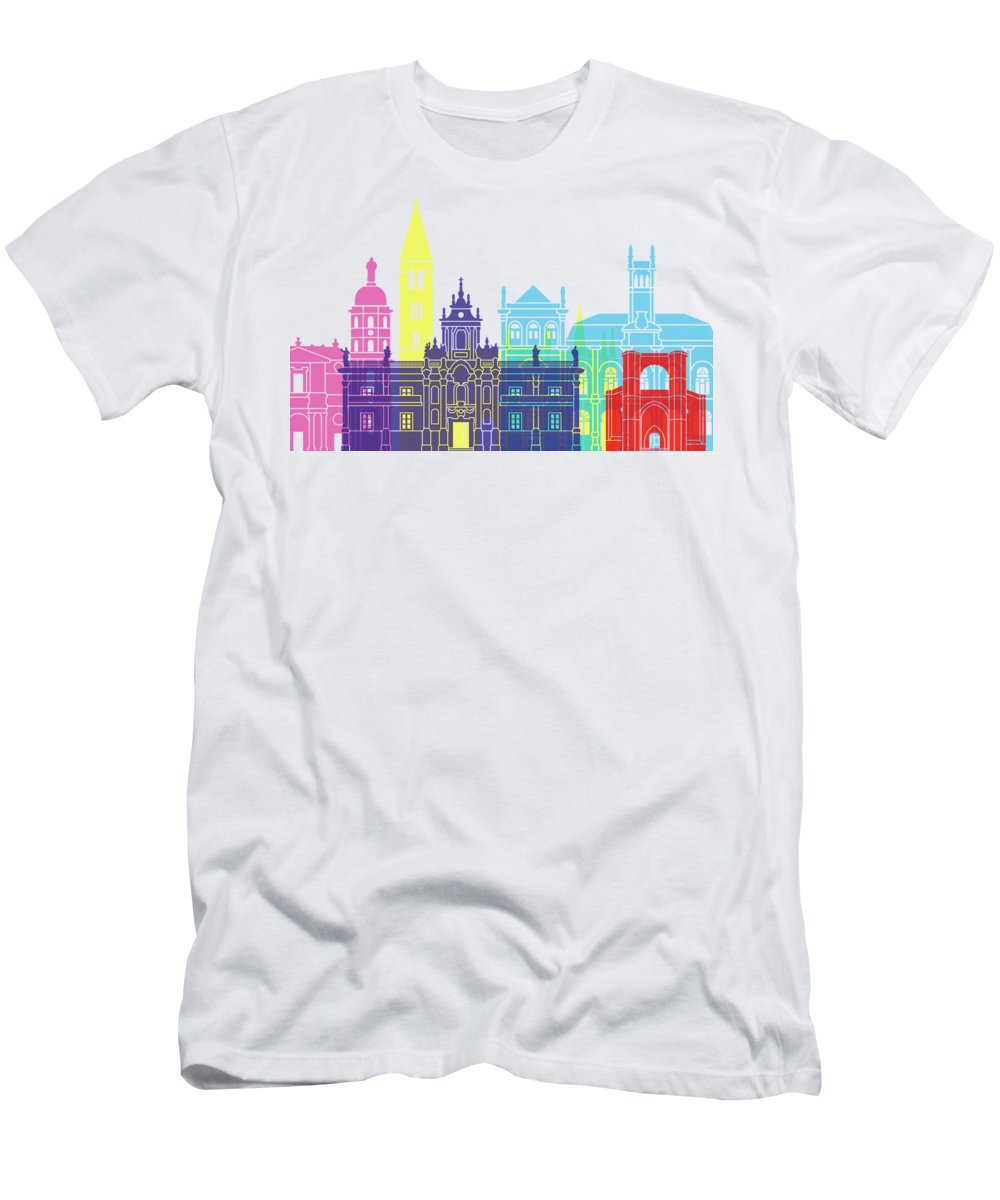 Valladolid Men's T-Shirt (Athletic Fit) featuring the painting Valladolid Skyline Pop by Pablo Romero