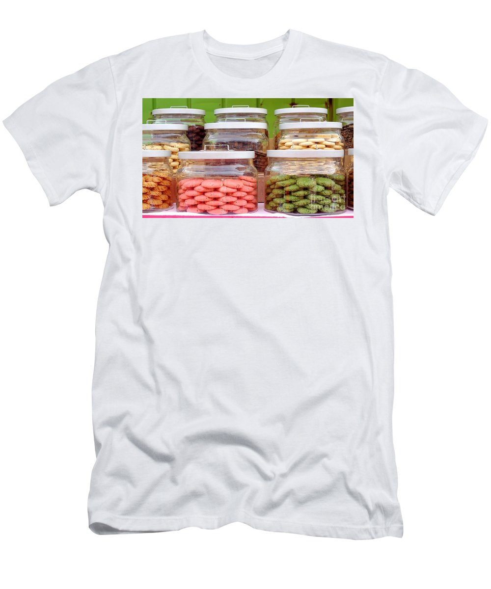 Cookie Men's T-Shirt (Athletic Fit) featuring the photograph Various Cookies In Glass Jars by Yali Shi