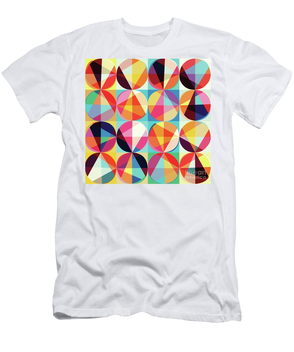 Vibrant Men's T-Shirt (Athletic Fit) featuring the digital art Vibrant Geometric Abstract Triangles Circles Squares by Tina Lavoie