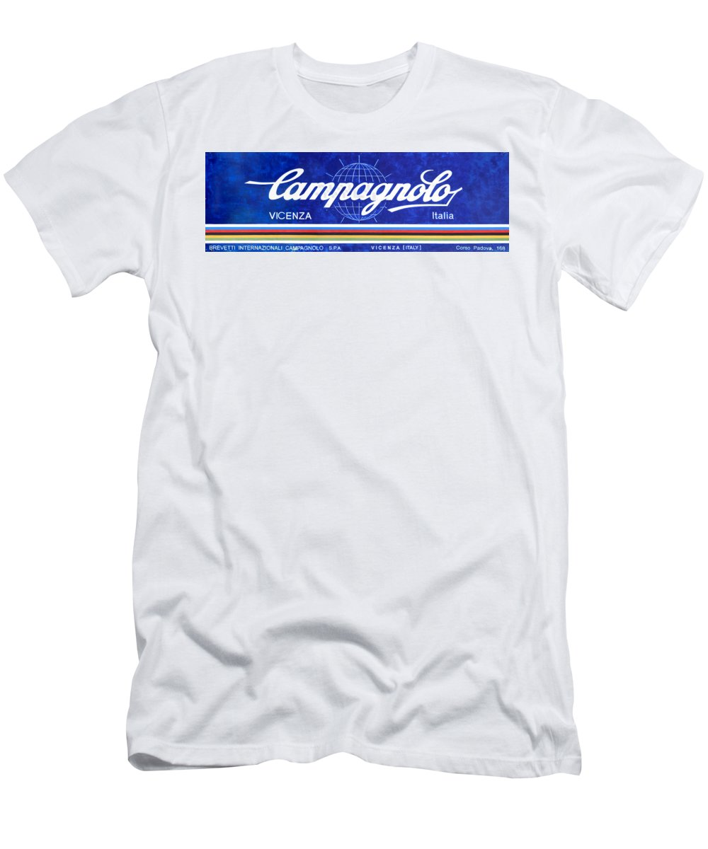 Campagnolo Men's T-Shirt (Athletic Fit) featuring the painting Vicenza Shop Sign In Blue by George Evans