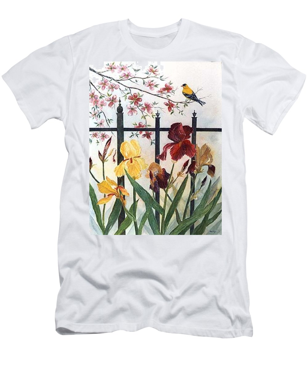 Irises; American Goldfinch; Dogwood Tree Men's T-Shirt (Athletic Fit) featuring the painting Victorian Garden by Ben Kiger