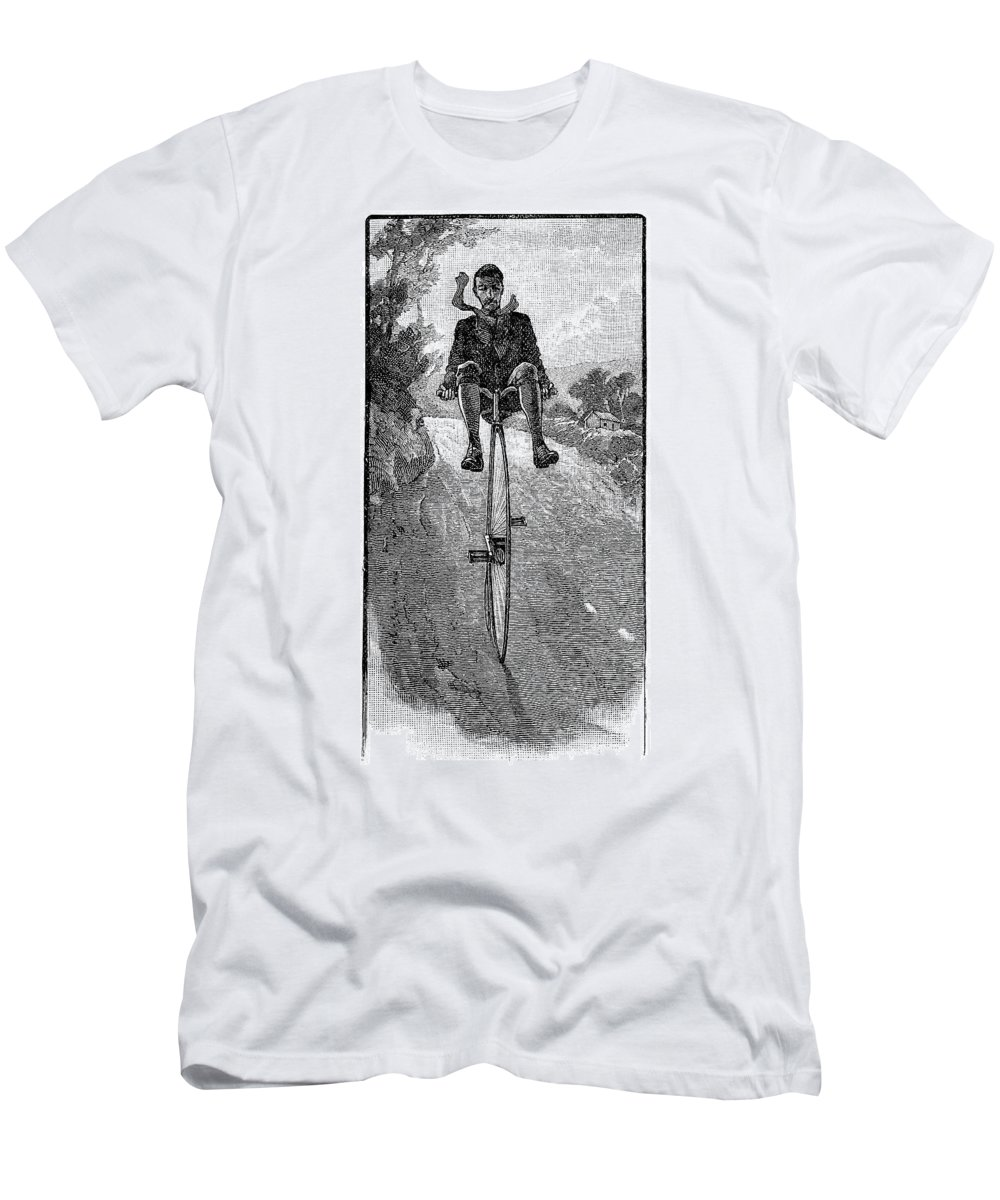 1800s Men's T-Shirt (Athletic Fit) featuring the drawing Victorian Gentleman On A Penny-farthing by Neil Baylis